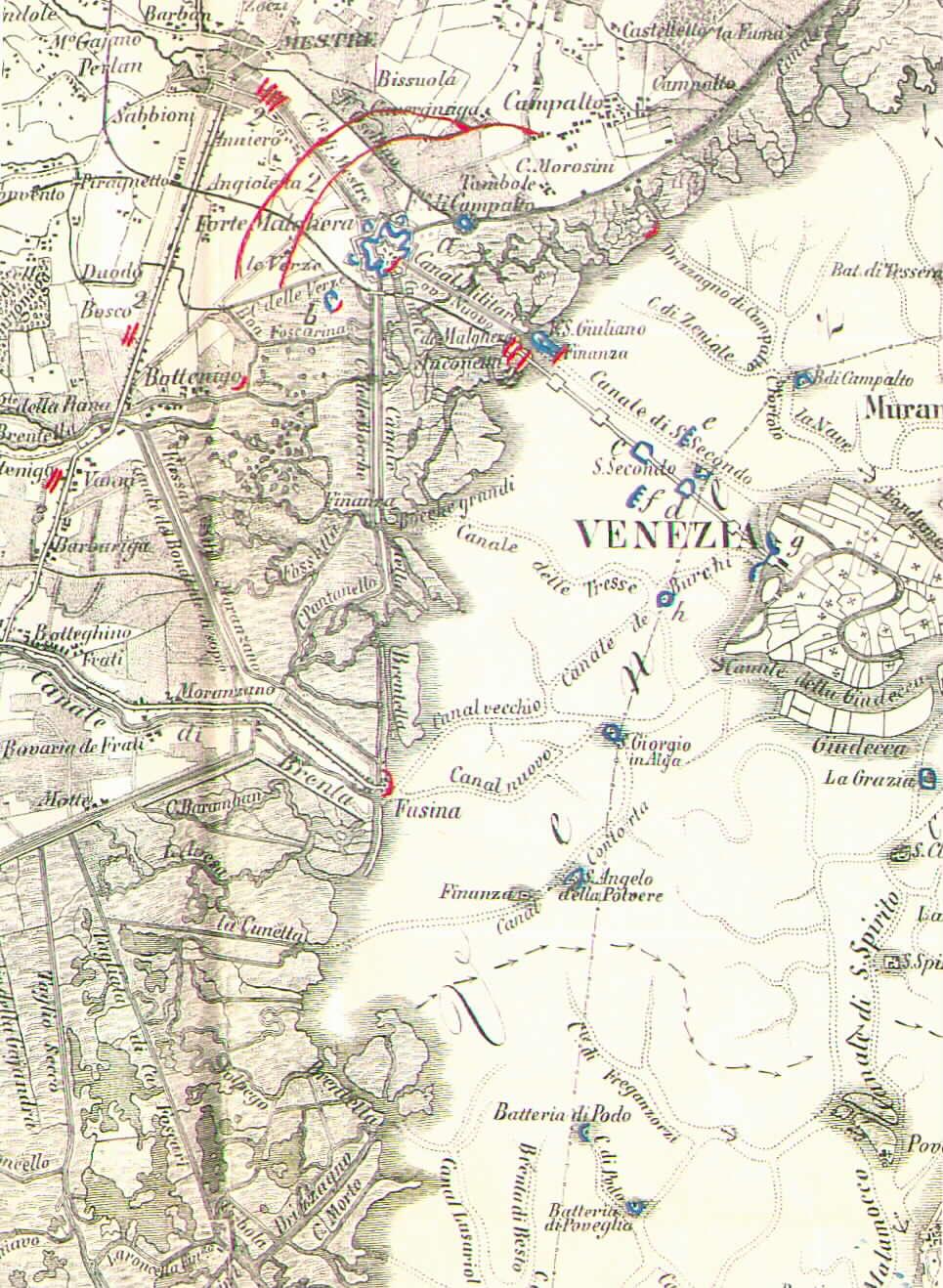 Schieramenti Austriaci (in rosso) e Veneziani repubblicani (in azzurro) nella battaglia di Forte Marghera