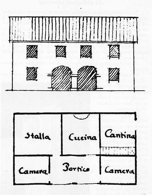 Disegno di una casa rurale ritrovato nell'archivio del Comune di Favaro (1826)