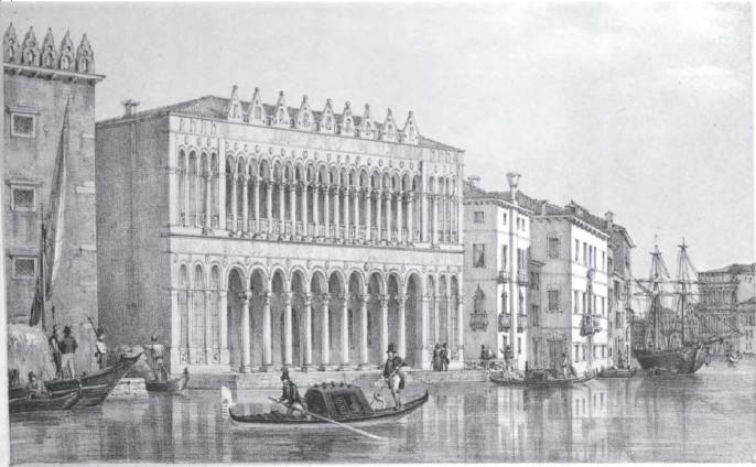 Illustrazione d'epoca del Fondaco dei turchi, futura sede del Museo Civico di Storia naturale di Venezia