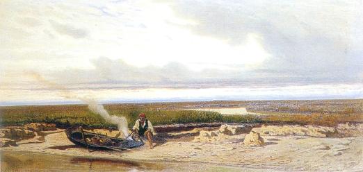 Guglielmo Ciardi. Pescatore in barena, 1870 (dal Catalogo delle opere di Guglielmo Ciardi. Regione Veneto - Antiga Edizioni)
