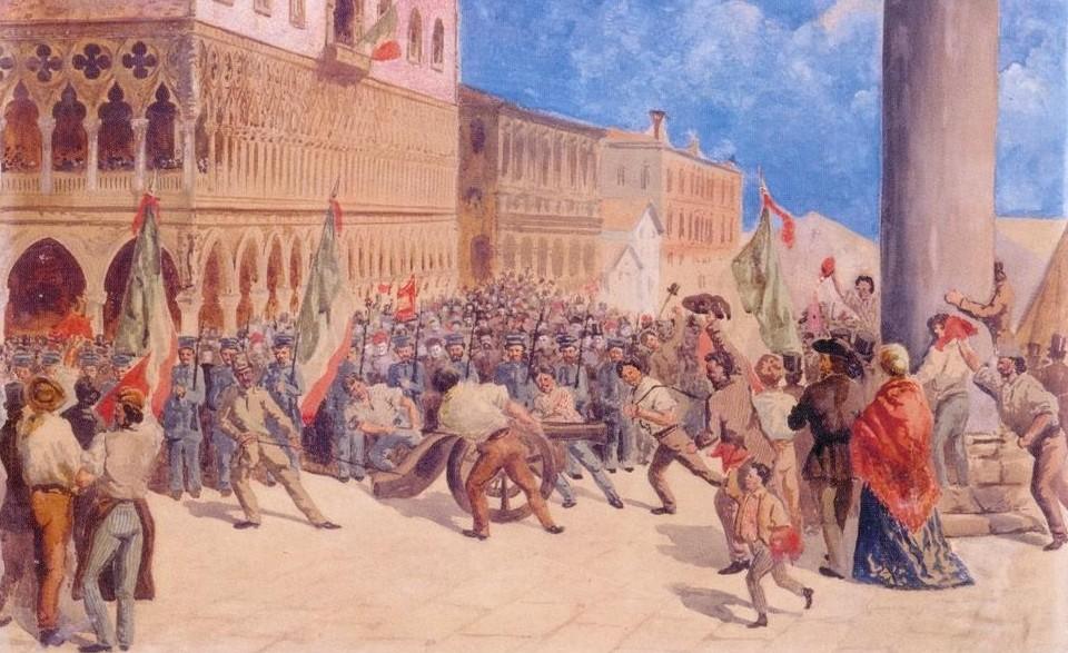 Feste dei veneziani sui trofei della battaglia di Mestre