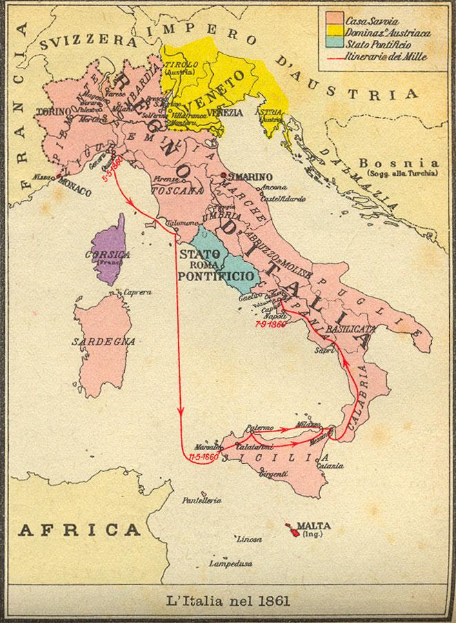 Il percorso dei Mille garibaldini in una cartografia dell'epoca