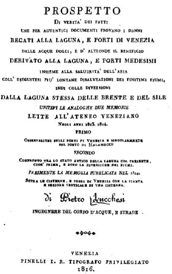 Frontespizio dell'opera del Lucchesi sempre in tema di idraulica lagunare