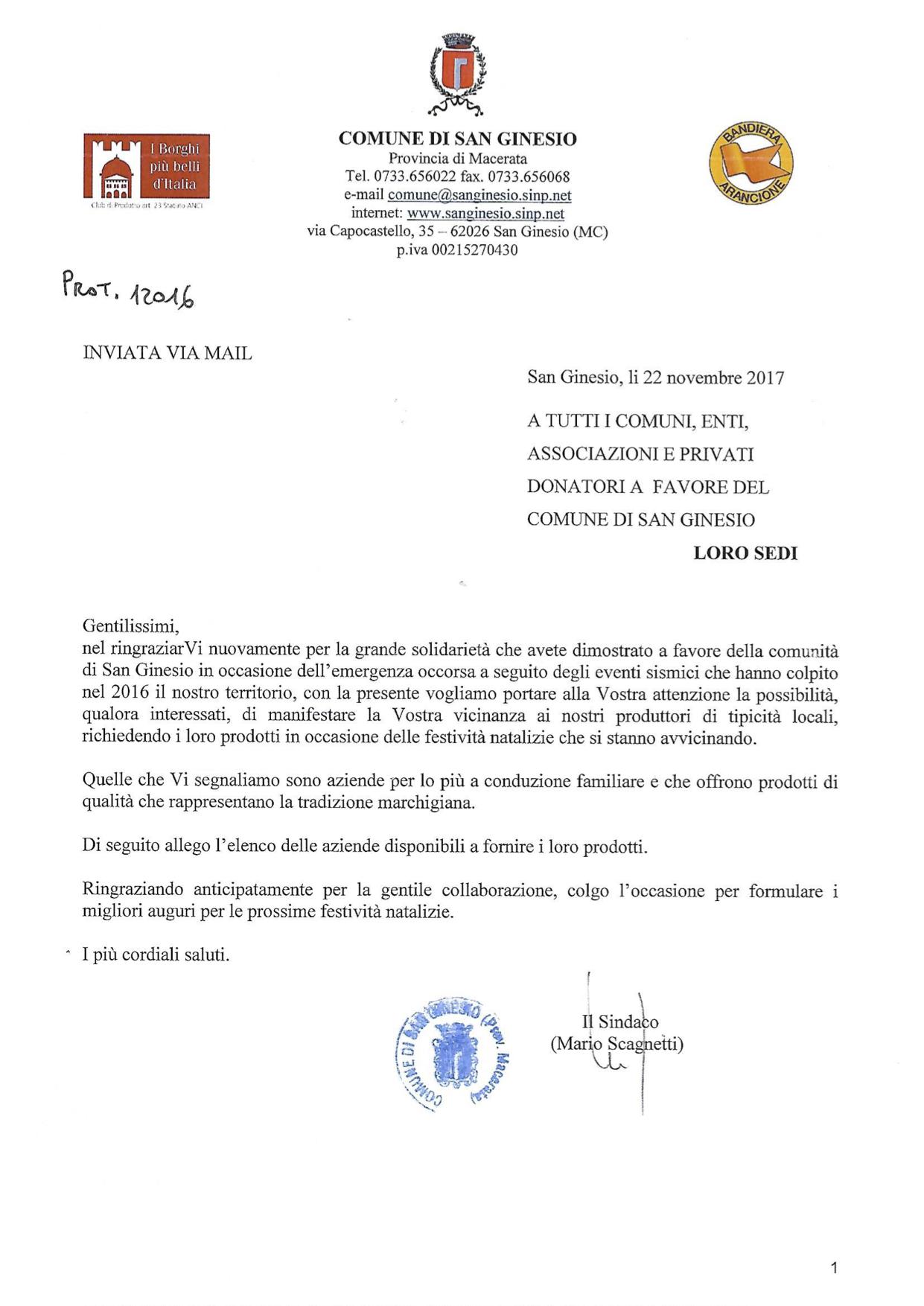 Lettera del sindaco di San Ginesio