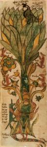 Il frassino Yggdrasill raffigurato in un manoscritto islandese del XVII sec.