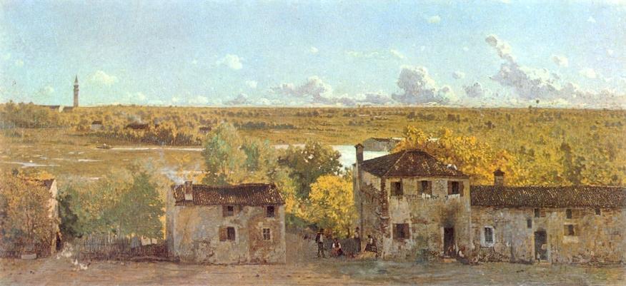 Campagna trevigiana ritratta da Guglielmo Ciardi. Si vedono chiaramente le aree umide fluviali simili a quelle descritte nel testo