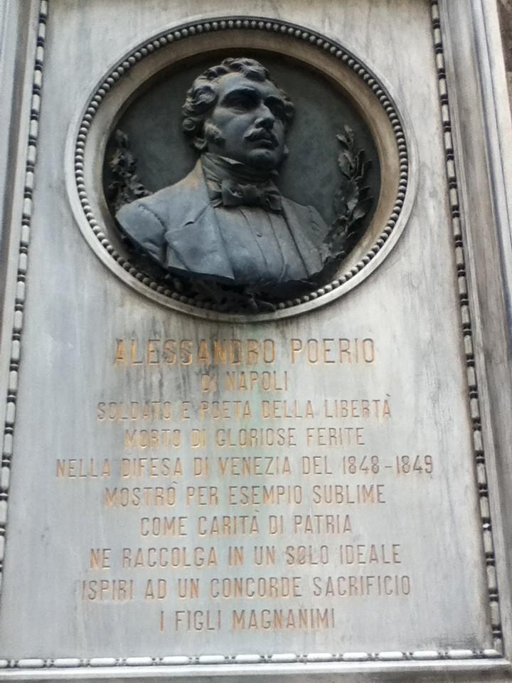 Lapide commemortiva di Alessandro Poerio soldato e poeta deceduto per gli ideali di patria
