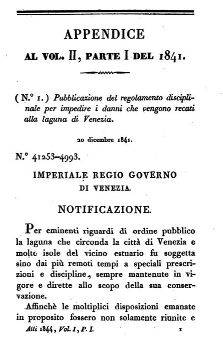 Frontespizio della pubblicazione del primo regolamento di polizia lagunare da parte dell'Amministrazione austriaca