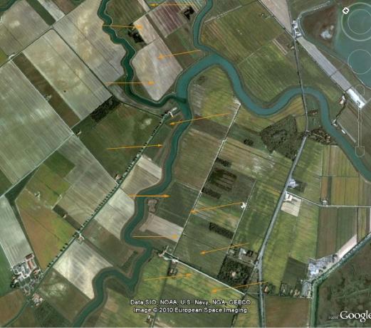 Foto aerea rilevante il tracciato della via Annia fra Tessera ed Altino