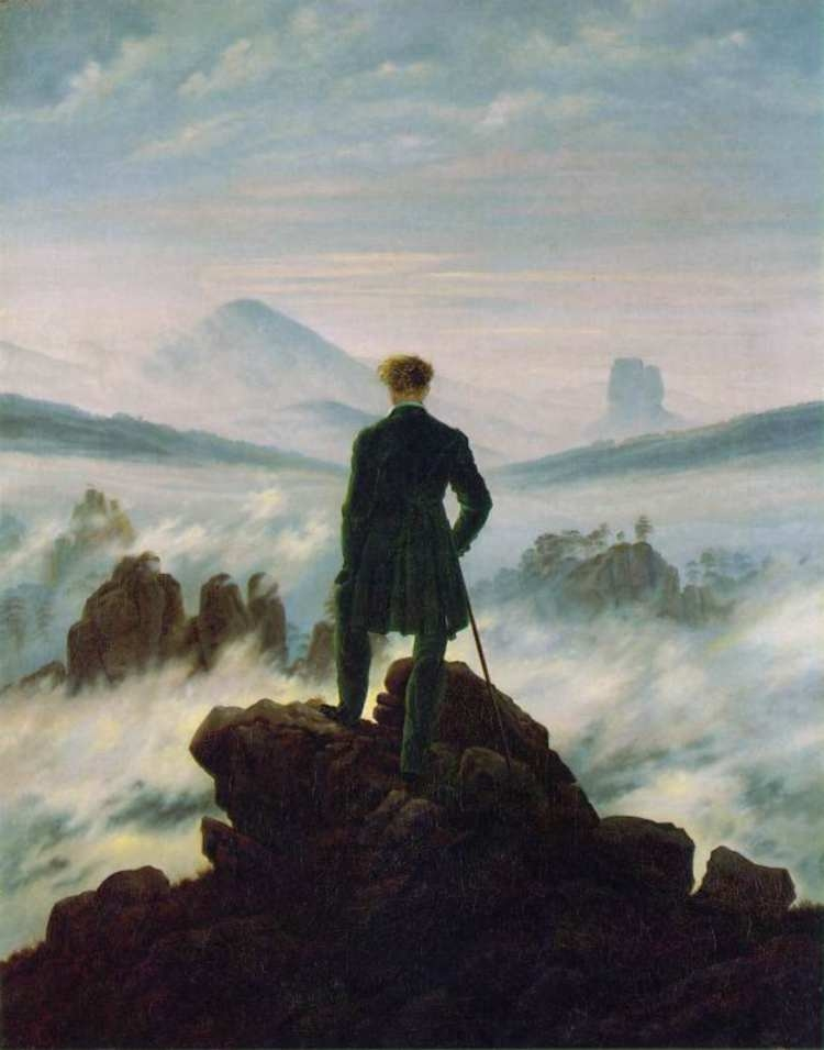 "Il viandante [Caspar David Friedrich (1774-1836) ""Wanderer above the Sea of Fog"", 1818]"